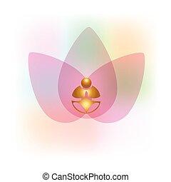Lotus flower gold buddha yoga meditation logo vector