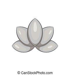 Lotus flower icon, black monochrome style