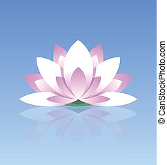 Lotus flower icon - Spiritual lotus flower icon on calm...