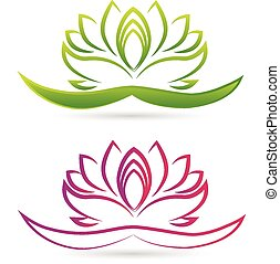 Lotus flower logo vector - Set of Lotus flowers logo vector