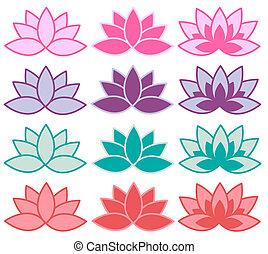 lotus symbols in different colour combinations
