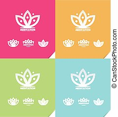 Lotus flower meditation logo icon