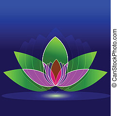 Lotus flower on water icon logo design background
