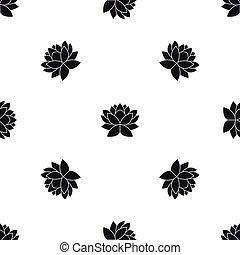 Lotus flower pattern seamless black