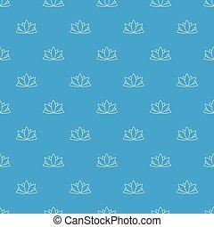 Lotus flower pattern vector seamless blue