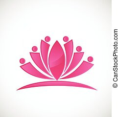 Lotus flower people icon logo