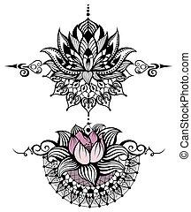 Lotus flower set on white background