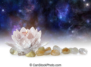 Lotus Flower Tea Light and tumbled stones