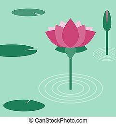 Lotus flower. Vector flat illustration.