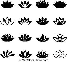 Lotus flower vector icons set