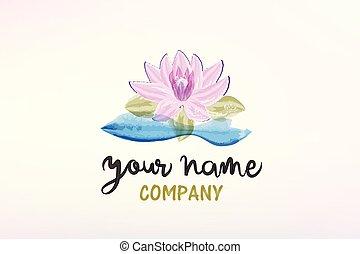 Lotus flower watercolor painted logo