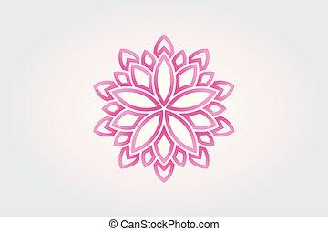Lotus flower Watercolor style. Vector Logo