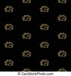 Lotus flower with gold glitter seamless vector pattern