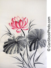 Lotus flower with two leaves