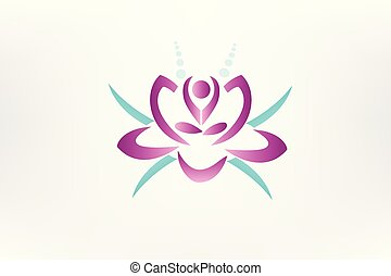Lotus flower yoga icon logo