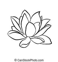 lotus flowers icon - Lotus flowers icon. The black line...