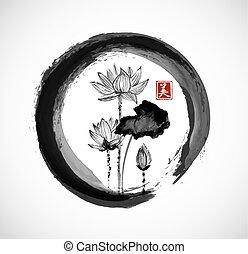 Lotus flowers in black enso zen circle. Traditional Japanese...