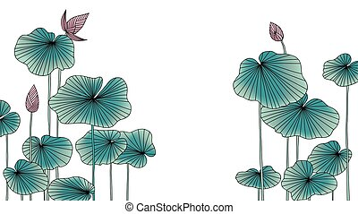 Lotus flowers with leaves background