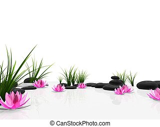 3d rendered illustration of lotus flowers, grass and stones