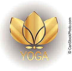 Lotus gold flower icon vector logo design