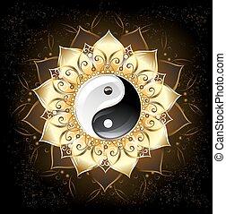 lotus, gouden, yin yang