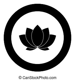 Lotus icon black color in circle