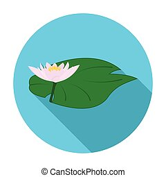 Lotus icon in flat style isolated on white background. India symbol stock vector illustration.
