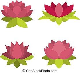 Lotus icon set, flat style