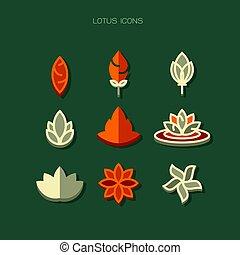 lotus Icons modern. Orange white vector on green background