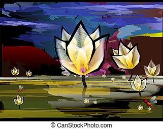 lotus in a lake