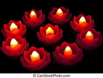 Lotus Lamp - Lighting lotus lamp in dark is a symbol of ...