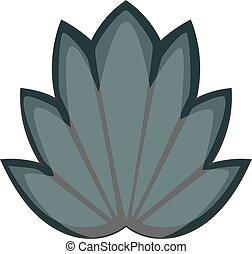 Lotus leaf icon monochrome