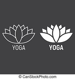 Lotus line and glyph icon, fitness and sport, yoga sign...