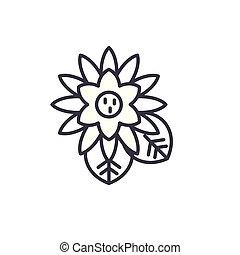 Lotus line icon concept. Lotus flat vector sign, symbol, illustration.