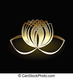 lotus, logo, bloem, goud, vector