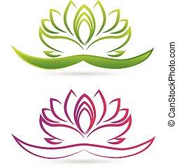 lotus, logo, bloem, vector