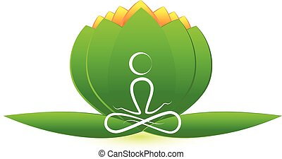 lotus, logo, bloem, yoga man