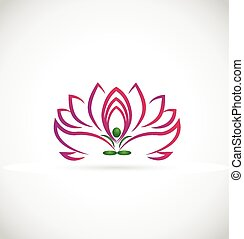 lotus, logo, bloem, yoga