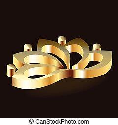 lotus, logo, blomst, luksus, guld