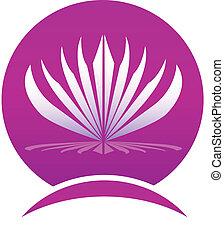 lotus, logo, cadre, compagnie, pousse feuilles