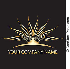 lotus, logo, företag, dig, guld
