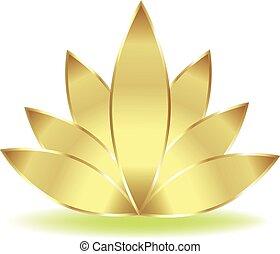 lotus, logo, fleur, or