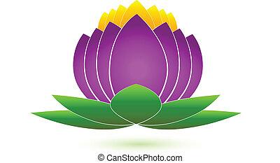 lotus, logo, fleur, vecteur, icône