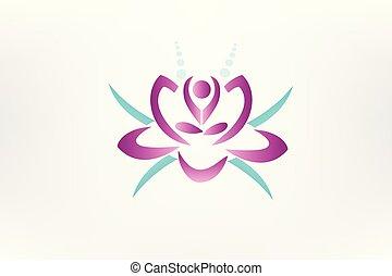 lotus, logo, fleur, yoga, icône