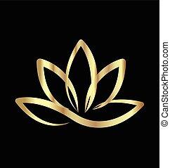 lotus, logo, guld