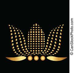 lotus, logo, selskab, grafik, guld