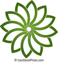 lotus, logo, växt, grön