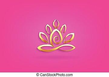 lotus, logo, yoga, guld, mand