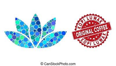 lotus, luwak, original, collage, café, fleur, cachet, textured, kopi