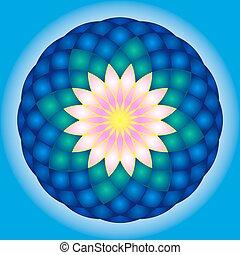 lotus, mandala., rond